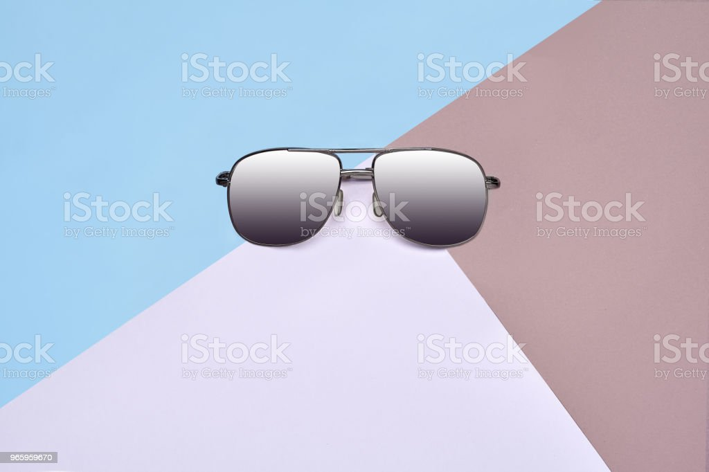 Minimal style. Minimalist Fashion photography. Fashion summer is coming concept. Sunglasses on a colorful background - Royalty-free Abstract Stock Photo