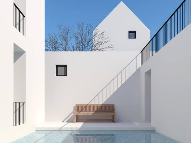 Minimaler Stil Pool Hof 3d render – Foto