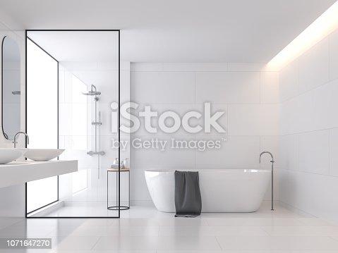 istock Minimal style white bathroom 3d render 1071647270