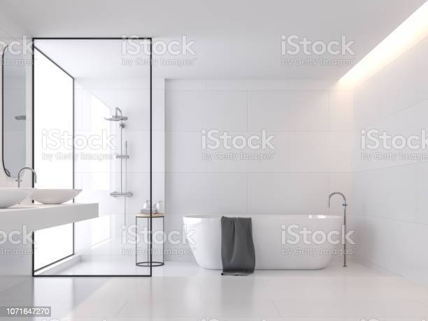 Minimal style white bathroom 3d render picture id1071647270?b=1&k=6&m=1071647270&s=612x612&h=yeptcutmygvywsemjprfviy548lw8anfjwma7ktncek=