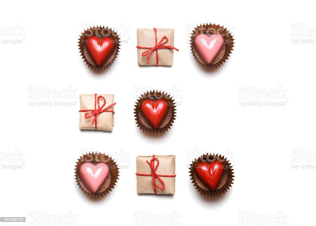 Minimale Gestylten Valentinstag Flach Legen Draufsicht Isoliert Auf ...