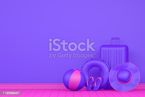 3D Rendering of Minimal Summer and Travel Concept with neon colors