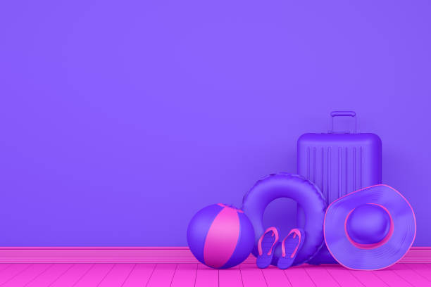 minimales sommer-und reisekonzept auf purpur-background - neontasche stock-fotos und bilder