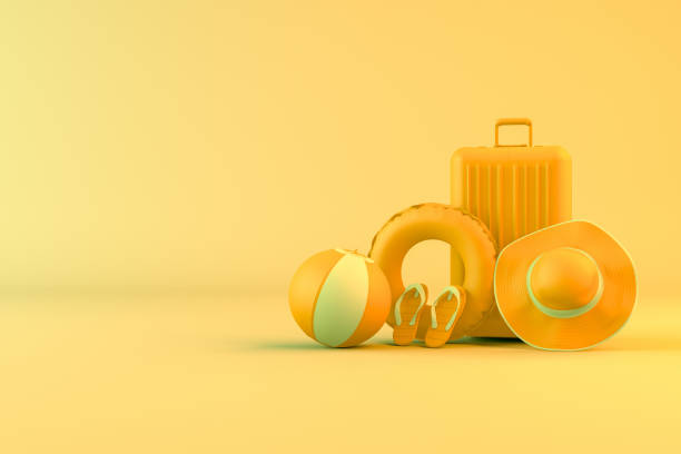 3d minimal summer and travel concept - neontasche stock-fotos und bilder