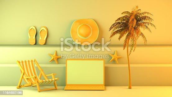 1153498948istockphoto Minimal summer and travel concept with laptop and staircase platform 1164692196