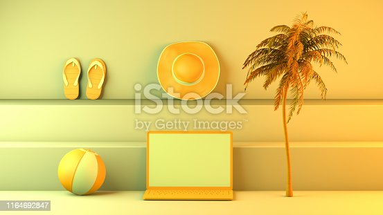 1153498948istockphoto Minimal summer and travel concept with laptop and staircase platform 1164692847