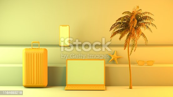 1153498948istockphoto Minimal summer and travel concept with laptop and staircase platform 1164693218