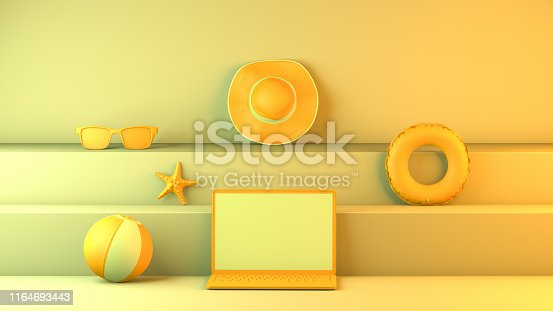1153498948istockphoto Minimal summer and travel concept with laptop and staircase platform 1164693443