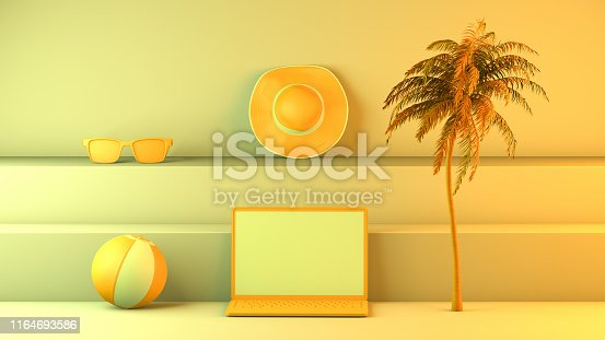 1153498948istockphoto Minimal summer and travel concept with laptop and staircase platform 1164693586