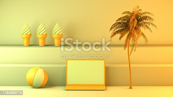 1153498948istockphoto Minimal summer and travel concept with laptop and staircase platform 1164693713