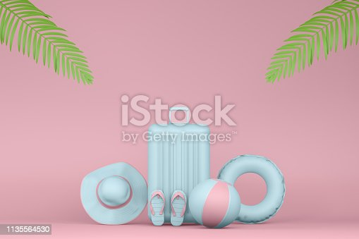 1153498948istockphoto Minimal Summer and Travel Concept with Palm Leaf 1135564530