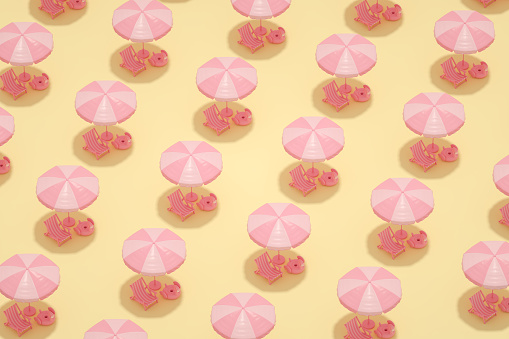 Minimal Summer Holiday Travel Background, Isometric View, Flamingo, Beach Umbrella and Beach Chair Pattern