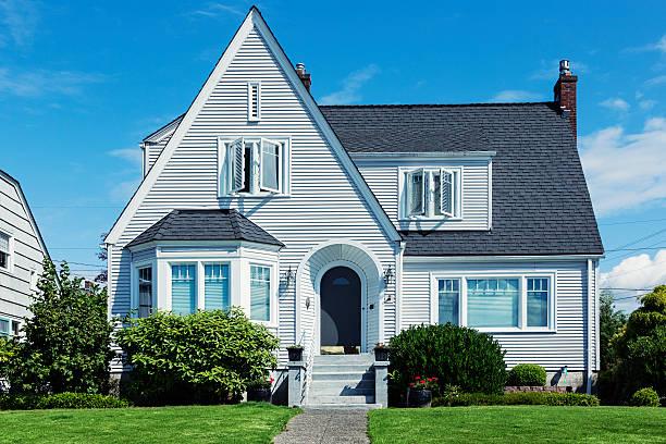 Minimal Traditional Shingle Style Home stock photo