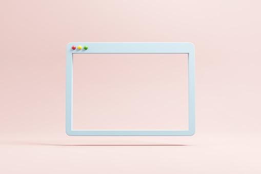 Minimal web simple browser window, 3d rendering.