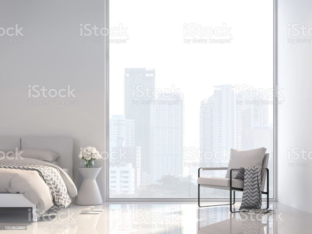 Minimal white bedroom with city view 3d render stock photo