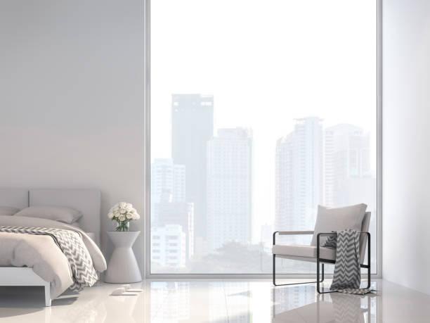 minimale weiße schlafzimmer mit city view 3d render - schick moderne schlafzimmer stock-fotos und bilder