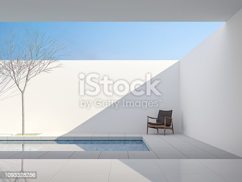 Minimal white style pool villa 3d render,View from living room to pool terrace ,There are gray tile floor,decorate with dark brown leather chair ,Brightness sunlight shining into inside.