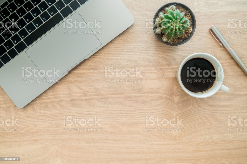Minimal work space - Creative flat lay photo of workspace desk. Top...