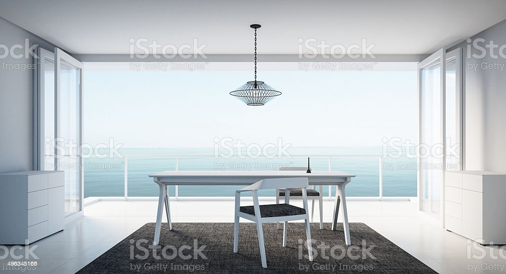 Minimal working-dining on seaview stock photo