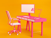 istock Minimal Workspace Concept Pink Computer on Table and Chair on Orange 1241755762