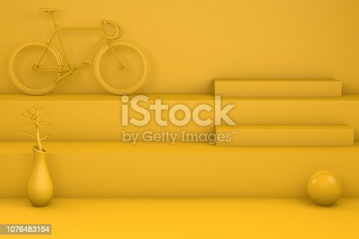 istock 3D Minimal yellow staircase, podium and geometric shapes 1076483154