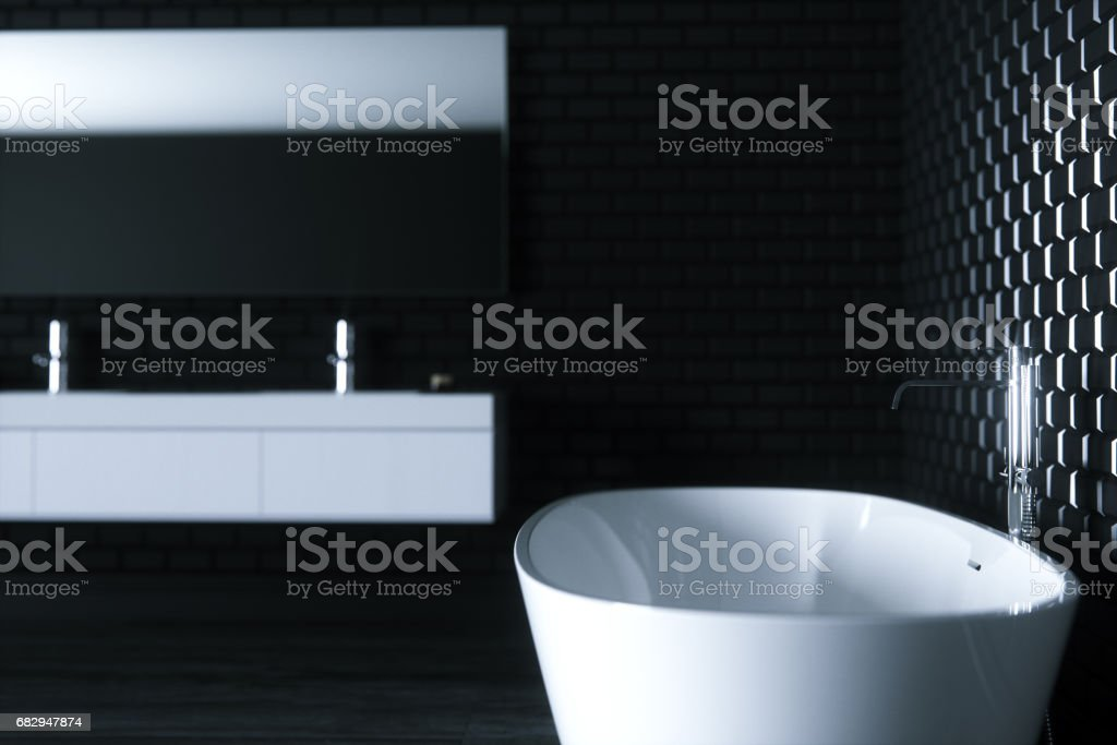 Minimalism bathroom in black interior 3D render version 3 close up royalty-free stock photo
