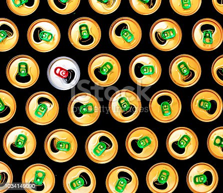 istock Minimalism, Beer cans, pink background, Pattern, modern, accent, 1034149090