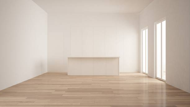 Minimalism, modern empty room with white hidden kitchen with island, parquet floor, white and wooden interior design stock photo