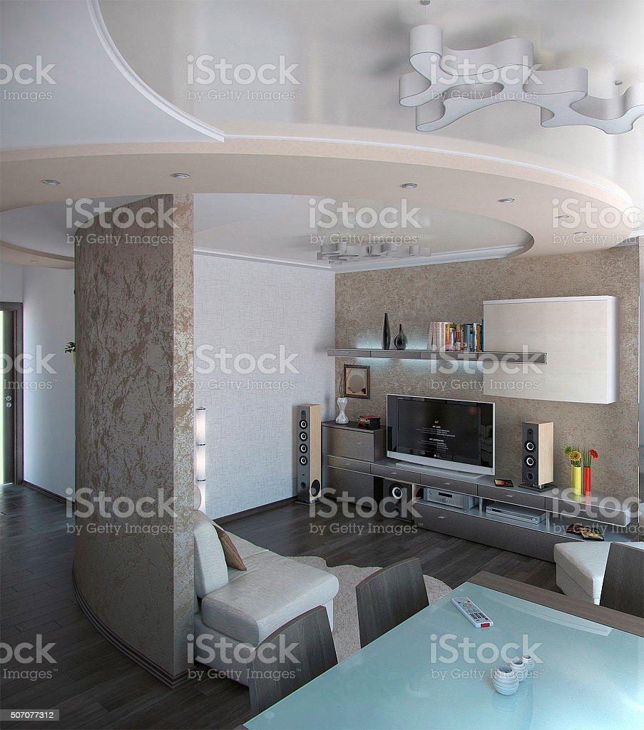 Minimalismus Wohnzimmer, 3D Render – Foto