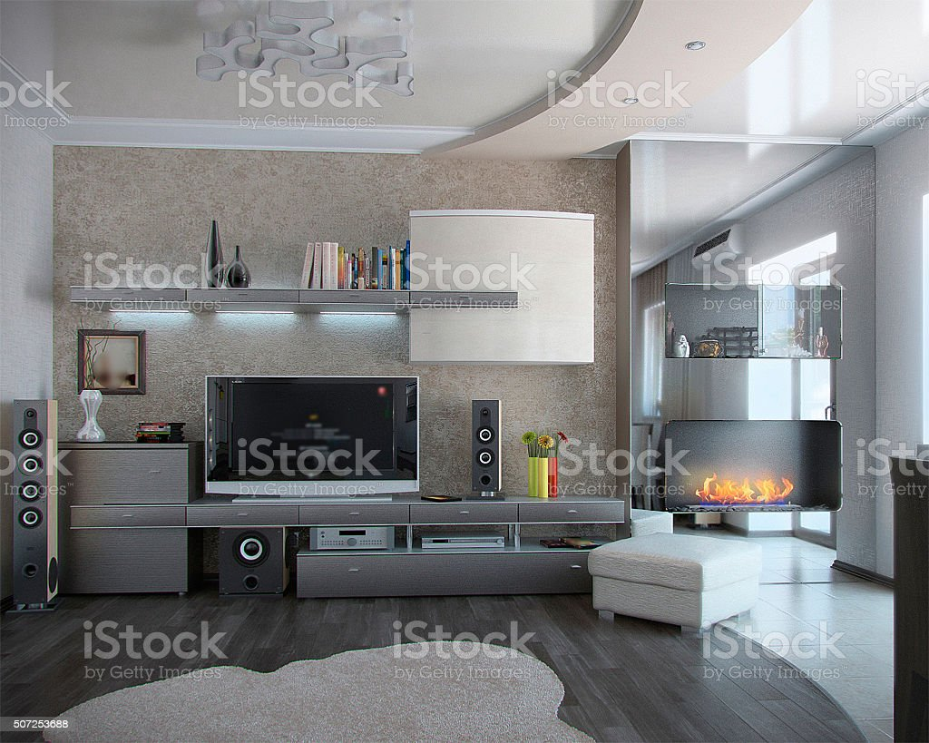 Minimalism sitting room, 3D render stock photo