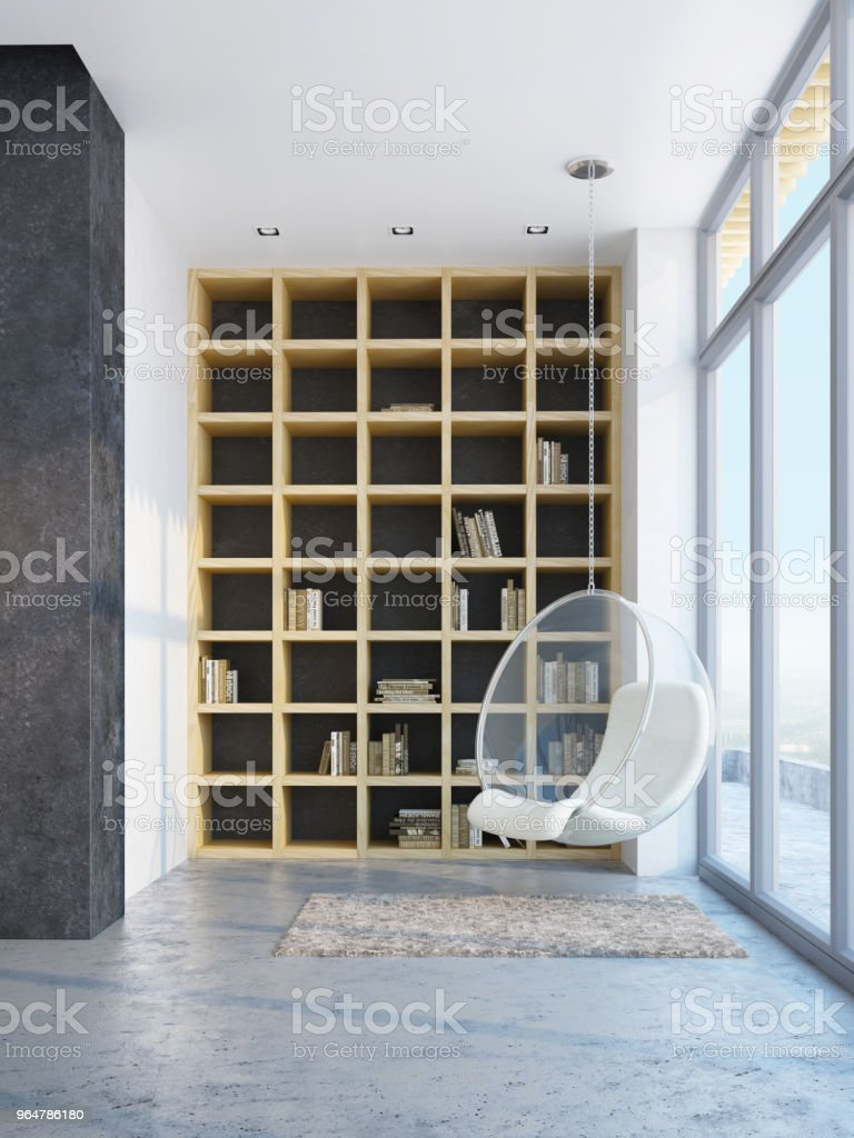 minimalism style interior of dining room, 3d rendering royalty-free stock photo