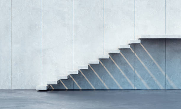 minimalism style stairs - staircase stock photos and pictures