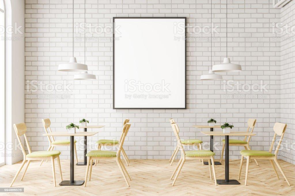 Minimalismus weiße ziegel café interieur posterrahmen stock