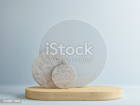 istock Minimalism wooden podium with abstract composition in blue room 1048911940