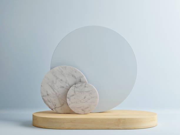 Minimalismus aus Holz Podium mit abstrakte Komposition im blue room – Foto