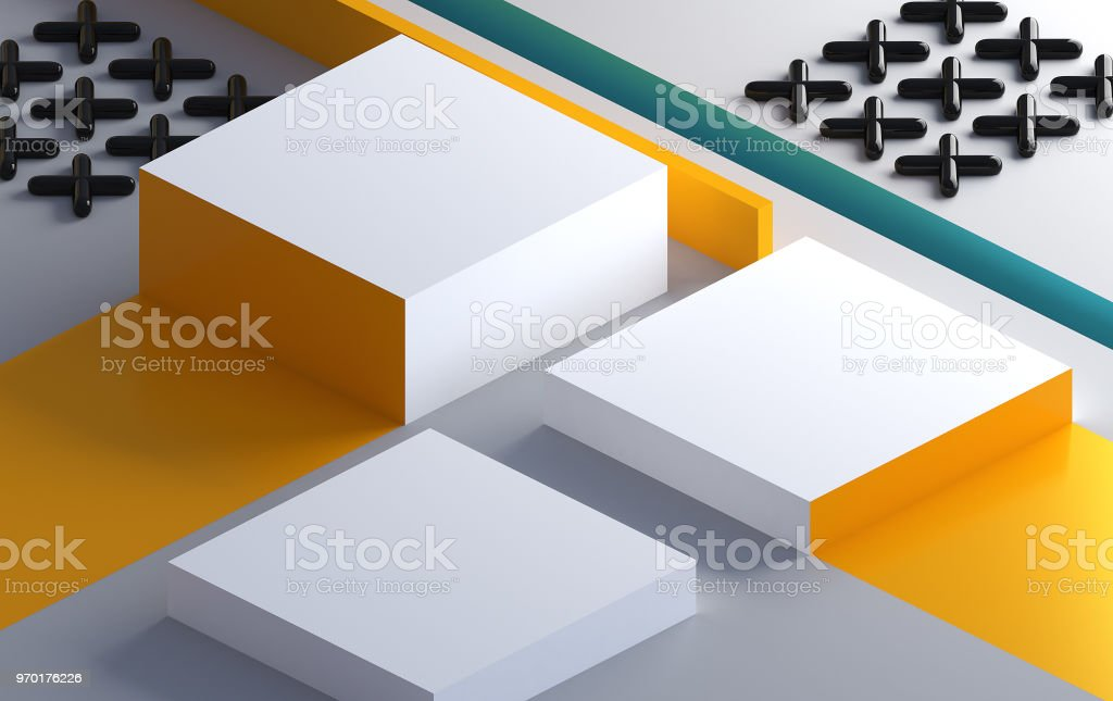 Minimalist abstract background, pastel colors, 3D render, podium for the advertized goods stock photo