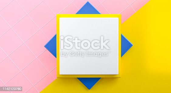 istock Minimalist abstract background, primitive geometrical figures, pastel colors, 3D render, podium for the advertized goods 1142120760
