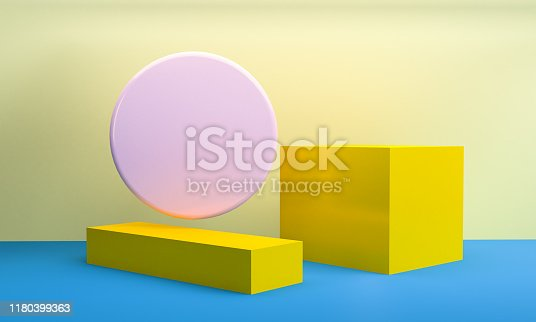 1166441358 istock photo Minimalist abstract background shape colorfull scene, 3d rendering. 1180399363