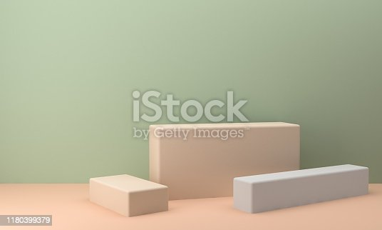 1166441358 istock photo Minimalist abstract background shape colorfull scene, 3d rendering. 1180399379