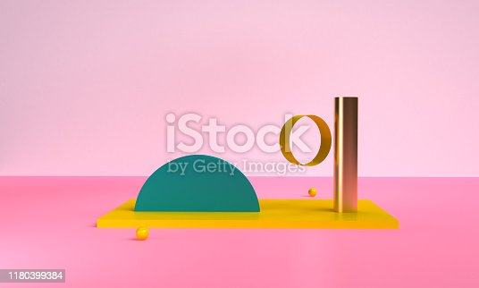 1166441358 istock photo Minimalist abstract background shape colorfull scene, 3d rendering. 1180399384