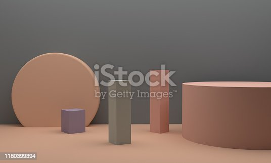 1166441358 istock photo Minimalist abstract background shape colorfull scene, 3d rendering. 1180399394
