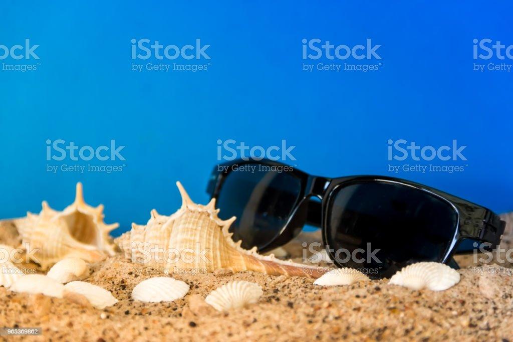 最簡約的背景代表夏季與蝸牛蛤護目鏡和沙子在天體上 - 免版稅具有特定質地圖庫照片