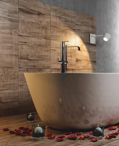 minimalistische badezimmer - badezimmermöbel holz stock-fotos und bilder