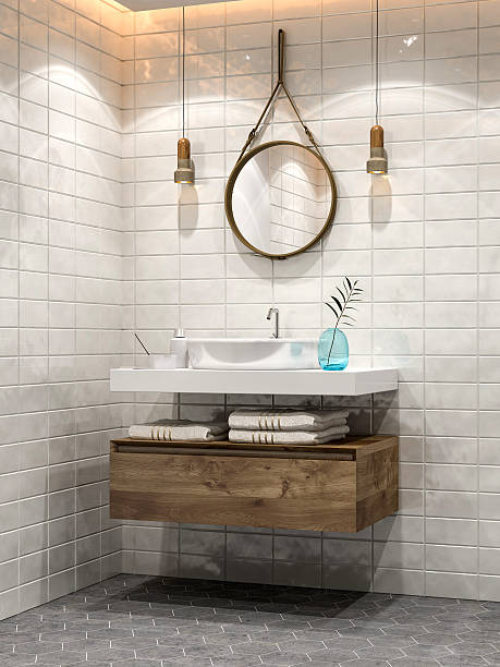 minimalist bathroom - nelleg stock photos and pictures