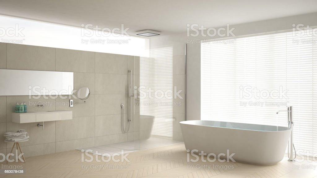 Minimalistisches Badezimmer Mit Badewanne Und Dusche Parkettboden Und Marmorfliesen Klassische Weisse Inneneinrichtung Stockfoto Und Mehr Bilder Von 1980 1989 Istock