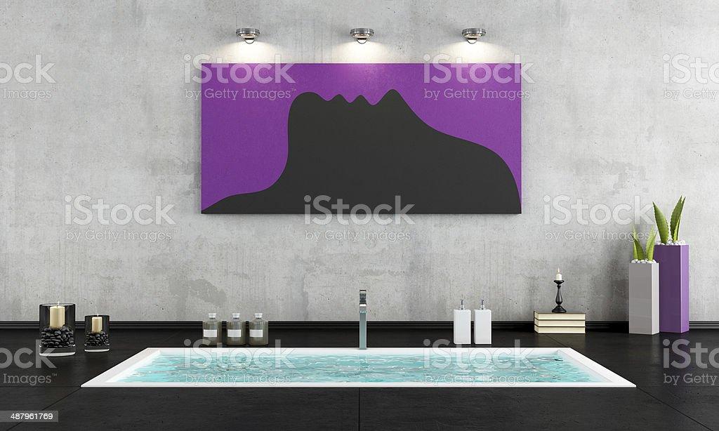 Minimalistische, Badezimmer Mit Versenkter Badewanne U2013 Foto