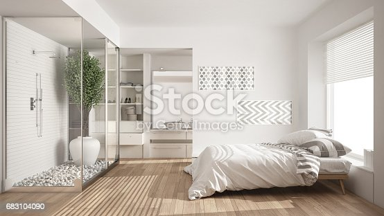 istock Minimalist bedroom and bathroom with shower and walk-in closet, classic scandinavian interior design 683104090