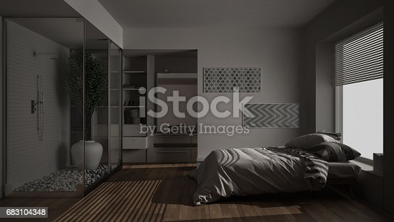 istock Minimalist bedroom and bathroom with shower and walk-in closet, night view, classic scandinavian interior design 683104348