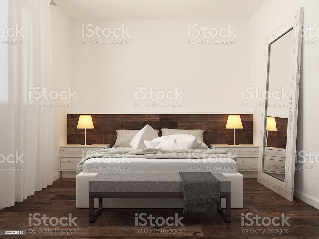 Minimalist bedroom interior stock photo