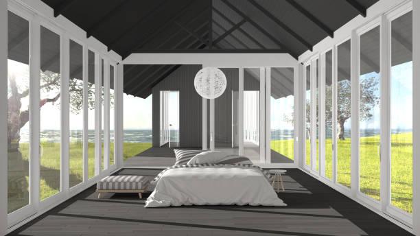 minimalist bedroom with big windows, stained glass and terrace on garden sea ocean panorama, architecture interior design - nautisches schlafzimmer stock-fotos und bilder